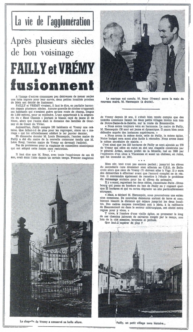 Failly et vrémy fusionnent en 1974 - Site de la Mairie de Failly