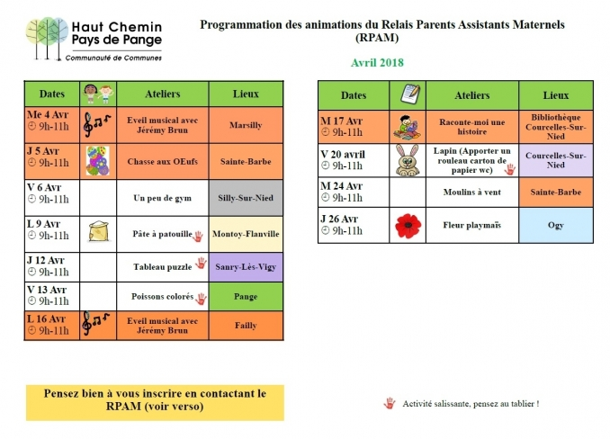 Programmation des animations du Relais Assistants Maternels (RAM) - Site de la Mairie de Failly